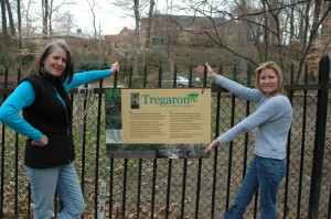 Tregaron Conservancy Board Members Susan Lynner and Bonnie LePard show off TC's first sign (February 6, 2008)