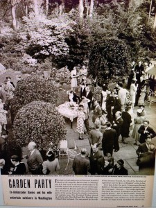 """Garden Party: Guests gather in social clumps amid flowering trees and shubbery of Tregaron, the Daviews' woodys estate on Klingle Road, near the Zoo"" from Life Magazine (May 22, 1944, p. 43)"