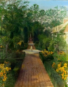 The Causeway's Formal Garden -- looking west (1919); photo by Frances Benjamin Johnson (Library of Congress Collection)